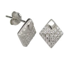 Sterling Silver 10x8mm White Cubic Zirconia Diamond Shape Stud Earrings