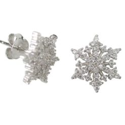 Sterling Silver 11mm White Cubic Zirconia Snowflake Stud Earrings