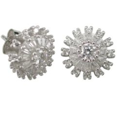 Sterling Silver 11mm White Cubic Zirconia Cluster Stud Earrings