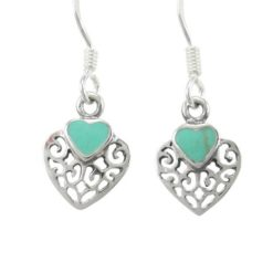Sterling Silver 10x9mm Filigree Green Turquoise Heart Drop Earrings