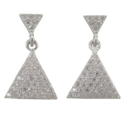 Sterling Silver 18x11mm White Cubic Zirconia Double Triangle Stud Earrings
