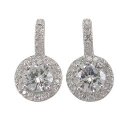 Sterling Silver 17x10mm White Cubic Zirconia Round Cluster Stud Earrings