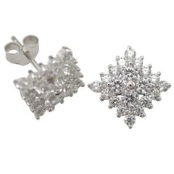Sterling Silver 9mm White Cubic Zirconia Square Stud Earrings