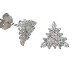 Sterling Silver 9mm White Cubic Zirconia Triangle Stud Earrings