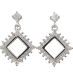 Sterling Silver 19x13mm White Cubic Zirconia Square Stud Earrings