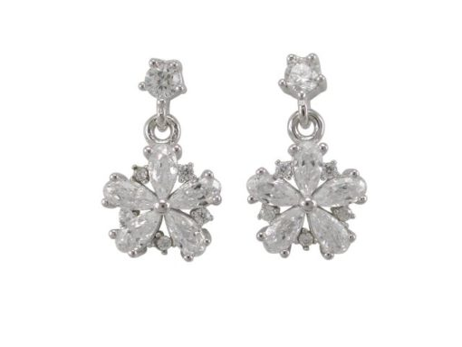 Sterling Silver 14x8mm White Cubic Zirconia Snowflake Stud Earrings