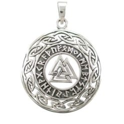 Sterling Silver 30mm Valknut Symbol & Celtic Pendant