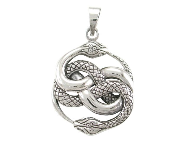 Sterling Silver 30x26mm Entwined Snakes Pendant