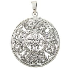 Sterling Silver 34mm Ornate Pendant