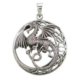 Sterling Silver 34mm Dragon & Celtic Pendant