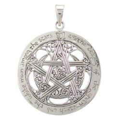 Sterling Silver 34mm Celtic Pentagram *i Am The Beauty Of The Green Earth And The White Moon Among The Stars* Pendant
