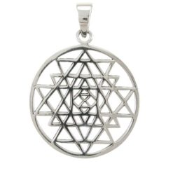 Sterling Silver 28mm Sri Yantra Pendant