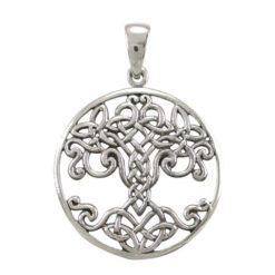 Sterling Silver 25mm Round Celtic Tree Of Life Pendant