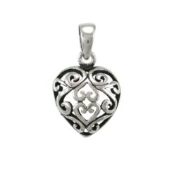 Sterling Silver 12mm Filigree Heart Pendant