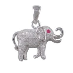 Sterling Silver 20x14mm White Cubic Zirconia Elephant Pendant