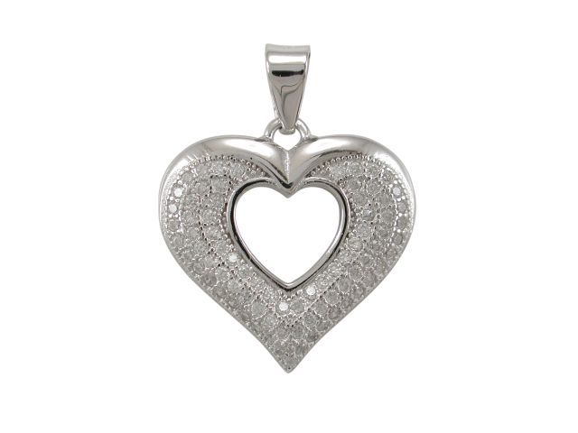 Sterling Silver 18x16mm White Cubic Zirconia Heart Pendant