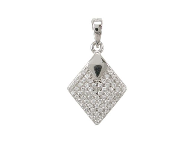 Sterling Silver 15x12mm White Cubic Zirconia Diamond Shape Pendant