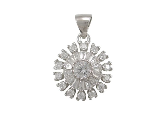 Sterling Silver 13mm White Cubic Zirconia Cluster Pendant