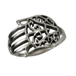 Sterling Silver 11mm Hamsa Hand (hand Of Miriam)  Ring