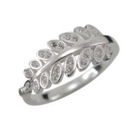 Sterling Silver 8mm White Cubic Zirconia Leaf Ring