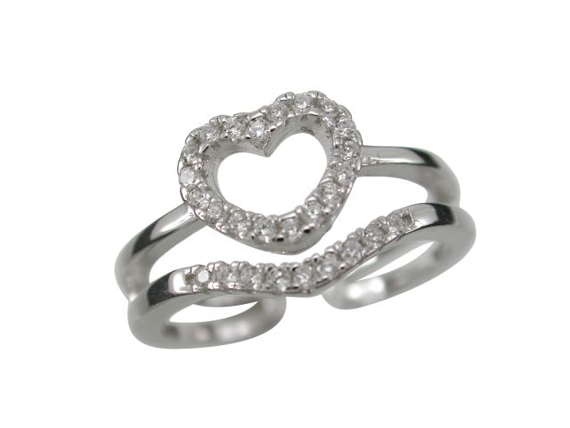 Sterling Silver 9mm White Cubic Zirconia Open Back Heart Ring Size Range L-p