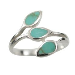 Sterling Silver 12mm Teardrop Green Turquoise Ring