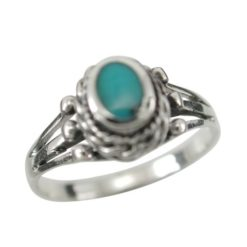 Sterling Silver 8mm Oval Blue Turquoise Ring