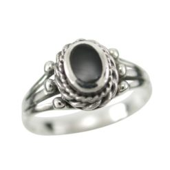 Sterling Silver 8mm Oval Black Onyx Ring