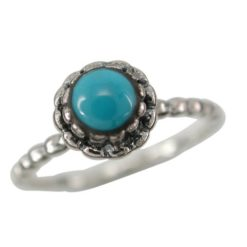 Sterling Silver 7.5mm Round Blue Turquoise Ring