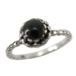 Sterling Silver 7.5mm Round Black Onyx Ring