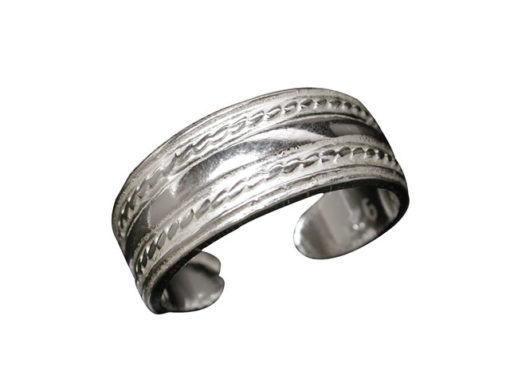 Sterling Silver 6mm Rope Edged Toe Ring