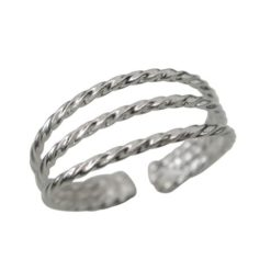 Sterling Silver 6mm 3 Twisted Band Toe Ring