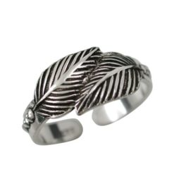 Sterling Silver 7mm Oxidised Feather Toe Ring