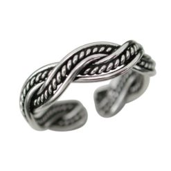Sterling Silver 4.5mm Oxidised Plaited Toe Ring