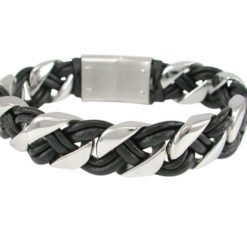 Stainless Steel & Black Leather 15mm Bracelet 21cm