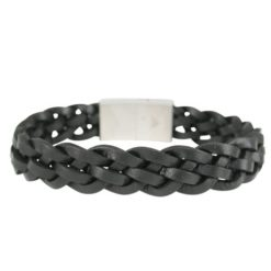 Stainless Steel & Plaited Black Leather 14mm Bracelet 21cm