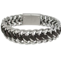 Stainless Steel & Plaited Brown Leather 16mm Bracelet 21cm