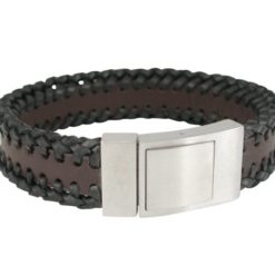 Stainless Steel & Plaited Black & Brown Leather 19mm Bracelet 21cm