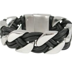 Stainless Steel & Plaited Black Leather 23mm Heavy Link Bracelet 21cm