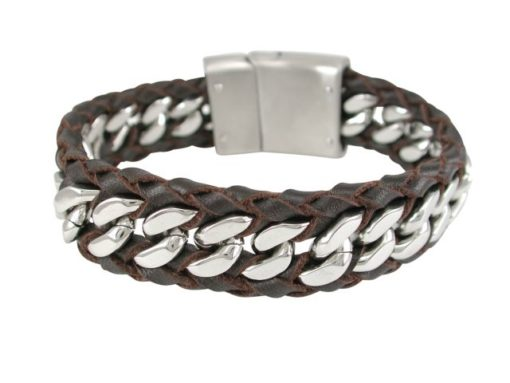 Stainless Steel & Plaited Brown Leather 20mm Heavy Link Bracelet 21cm