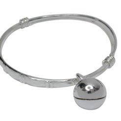 Sterling Silver 3x33mm Expandable Patterned Baby Bangle With  Bell