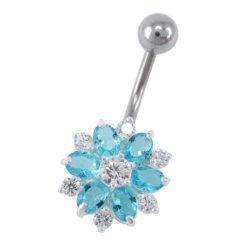 Sterling Silver & Surgical Steel 12mm Aqua Cubic Zirconia Flower Banana 1.6x10