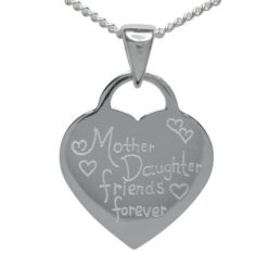 Sterling Silver 16mm *mother Daughter Friends Forever* Heart Necklet 40-45cm