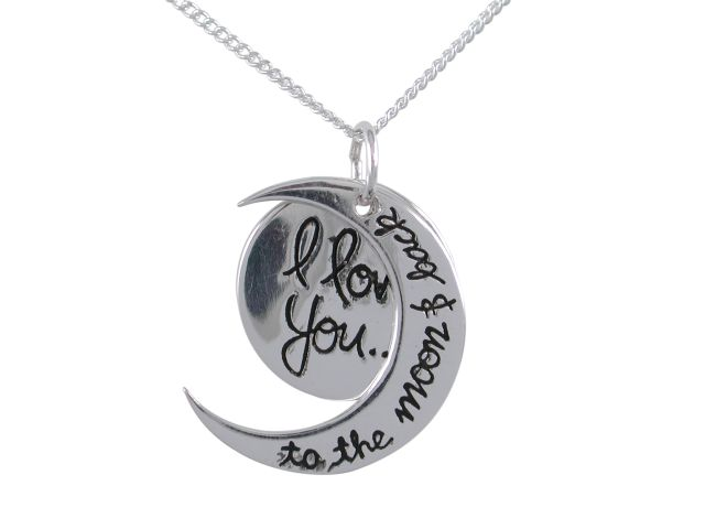 Sterling Silver 20mm *i Love You To The Moon And Back* Necklet 40-45cm