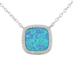 Sterling Silver 13mm Cushion Blue Synthetic Opal & Cubic Zirconia Necklet 40-45cm