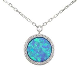 Sterling Silver 12mm Round Blue Synthetic Opal & Cubic Zirconia Necklet 40-45cm