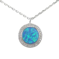 Sterling Silver 12mm Round Blue Synthetic Opal & White Cubic Zirconia Necklet 42-45cm