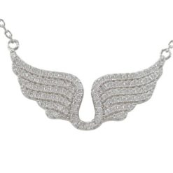 Sterling Silver 22x14mm White Cubic Zirconia Angel Wings Necklet 42-45cm