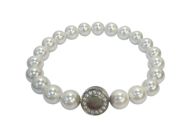 Stainless Steel White Cubic Zirconia Opening Magnetic Clasp On 7mm White Synthetic Pearl Bracelet