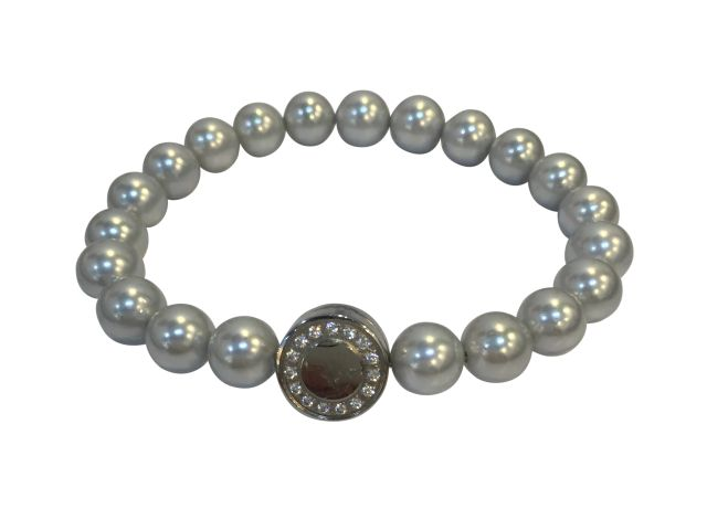 Stainless Steel White Cubic Zirconia Opening Magnetic Clasp On 7mm Grey Synthetic Pearl Bracelet